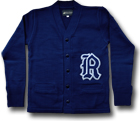 LETTERED CARDIGAN ROYAL
