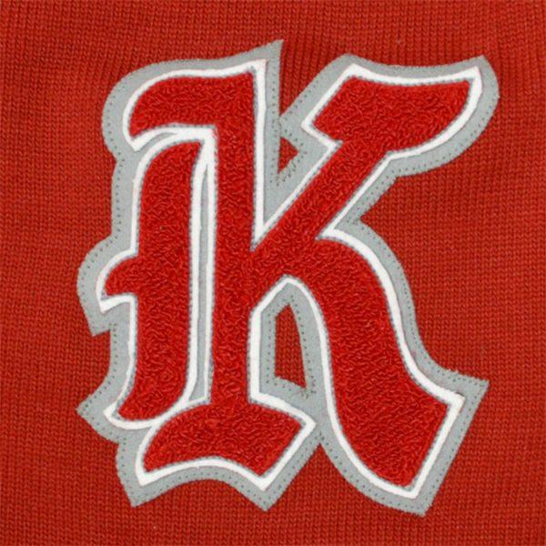 RED LETTERD CARDIGAN 還暦 K レタードカーディガン 赤 カーディガン